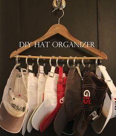 $1.00 hat / baseball cap organizer - so simple, so logical!  #storage #organization