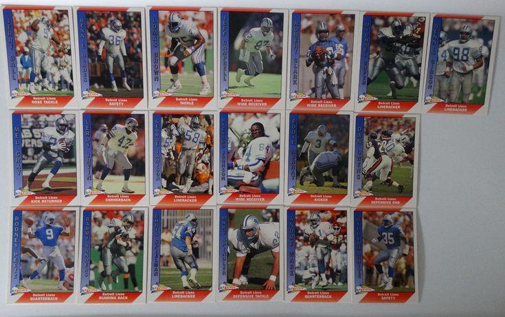 1991 Pacific Detroit Lions Team Set of 19 Football Cards #DetroitLions