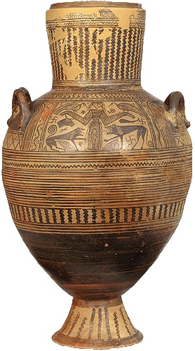 Boeotic .double-handled pithamphora. From Thebes. 680-670 B.C.