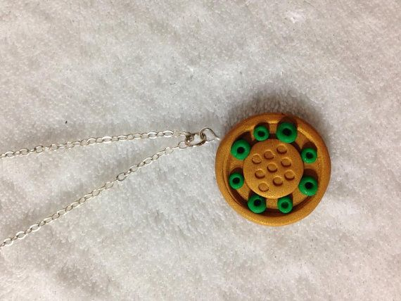 Gold and Green Polymer Necklace by SammyCraft on Etsy, $10.00
