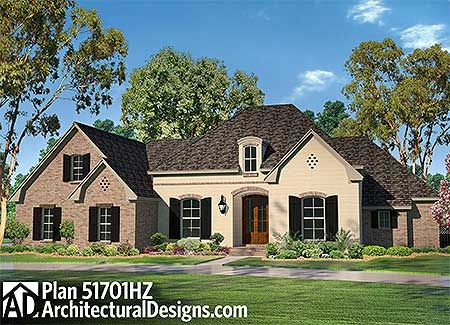 Plan 51701hz flexible acadian house plan with bonus room for Acadian house plans with bonus room