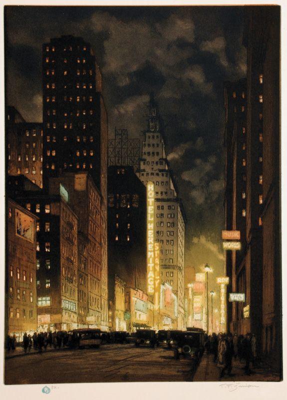 Seventh Avenue at Night, New York (1929), color lithography // Tavik Fratisek Simon