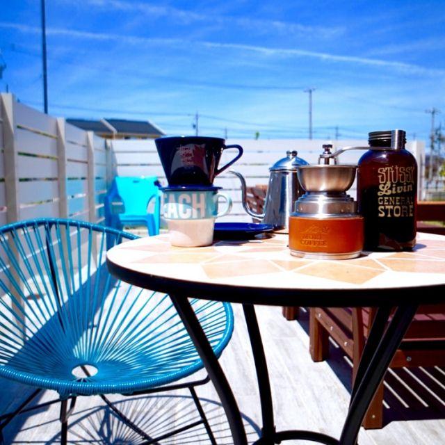 dorazenさんの、IKEA,カリフォルニアインテリアに憧れる,西海岸,海外インテリアに憧れる,ビーチハウス,カリフォルニアスタイル,RonHarman,WTW,ロンハーマン,コーヒー,STUSSY Livin'GS,POPOLO×more coffee,アカプルコチェア,テラス,机,のお部屋写真