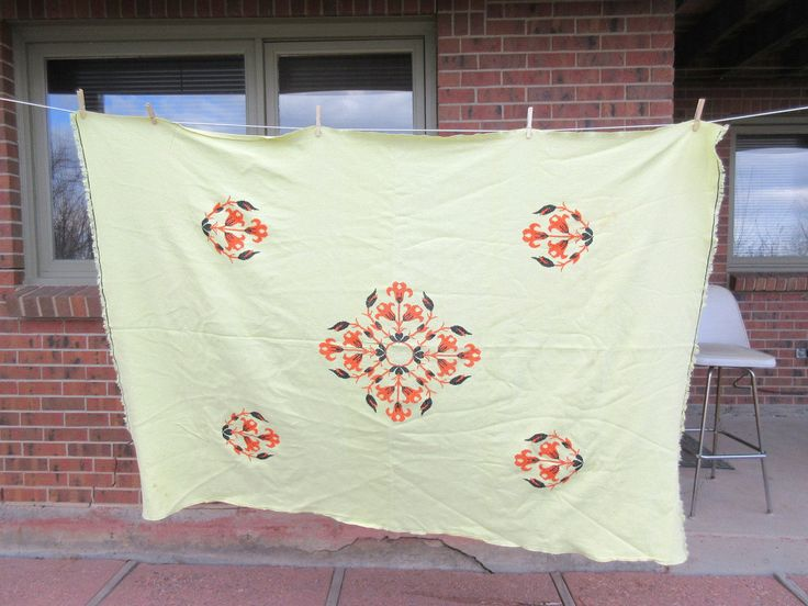 Vintage Cross Stitch Tablecloth, Yellow Tablecloth, Flower Needlepoint In  Orange And Black, Rectangle