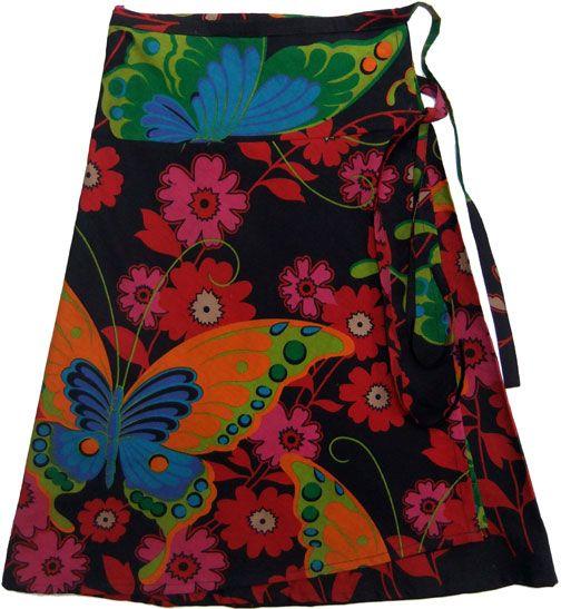 Wrap a round skirt, all cotton easy wear. Big butterfly print black. www.marketique.com.au