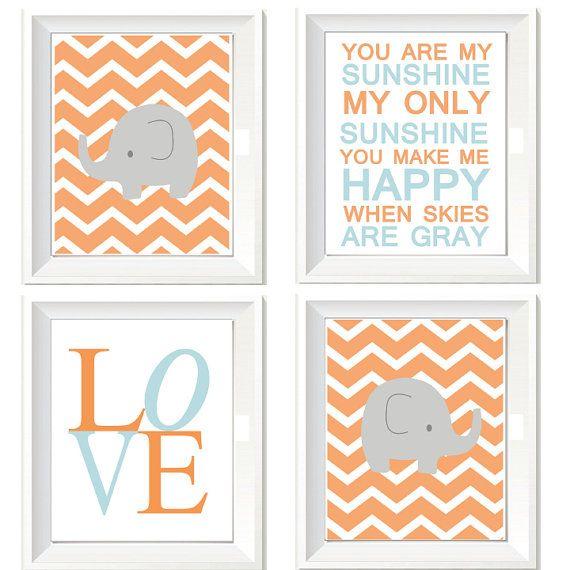 Blue Orange Nursery Art Chevron Elephant Prints by AbbyandGraceInc