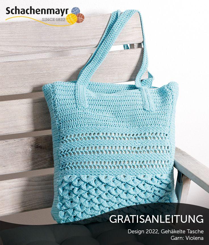 Wer gern einmal zur Häkelnadel greift, wird sich über dieses Projekt freuen: eine Tasche aus Luftmaschen, festen Maschen und Stäbchen, die sich auf höchst dekorative Weise abwechseln. Das Schöne dabei ist: Eine solche Tasche ist ebenso geeignet für den Strandurlaub wie für einen Ausflug in die Stadt. So oder so wird sie viele bewundernde Blicke ernten. #ViolenaWolle