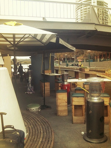 Ponyfish cafe/bar in Melbourne VIC. It's in the middle of the yarra where the bridge crosses.