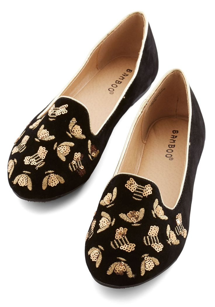 Buzz About Town Loafer. The bees are outside buzzing and you're inspired to do the same while wearing these velvety black loafers. #black #modcloth