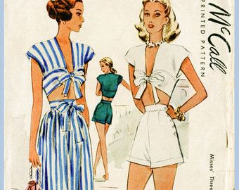 1940s 40s vintage playsuit sewing pattern crop top skirt high waisted shorts beach romper bust 30 & 34 English French Instructions repro