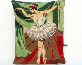 Unique French Ballerina Opening Night Tapestry up cycled Needlepoint Pillow Cushion Antique Linen
