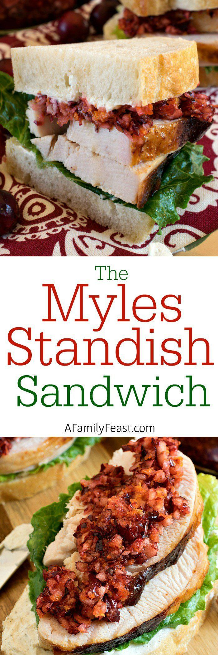 Myles Standish Sandwich - A delicious sandwich made with turkey slices, cream cheese on white crusty bread, and a delicious cranberry orange relish on top. So good!  | Thanksgiving turkey leftovers