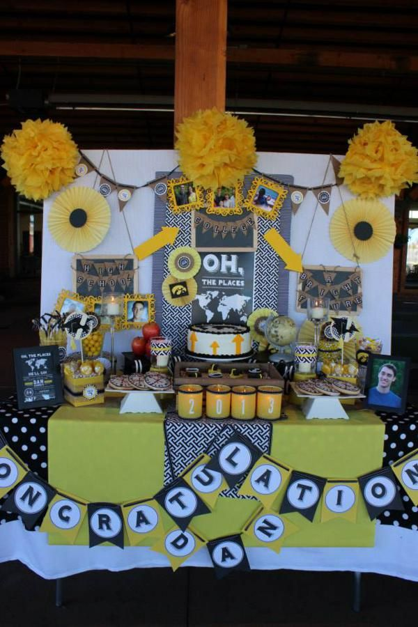 """""""Oh the Places He'll Go"""", Dr. Seuss Quote, Graduation Party, Yellow & Black, Travel, High School - Bright Future, Dessert Table, Cake & Cupcakes, Congratulations, 2013, Patterns, Arrows, Paper Fans, Banners"""
