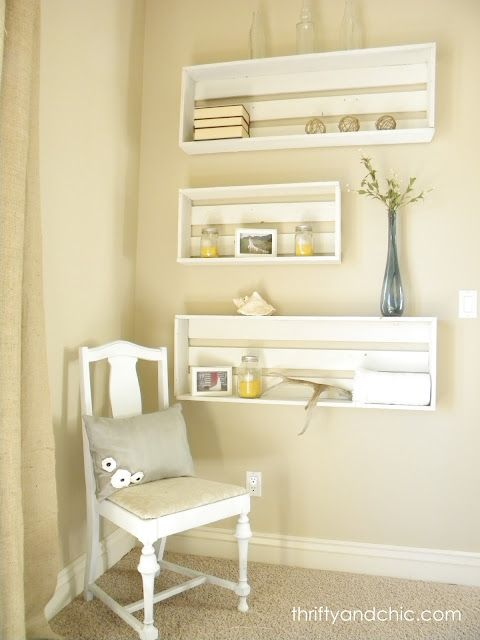 Love it: Diy Ideas, Decor Ideas, Crates Shelves, Crates Shelf, Wall Shelves, Diy Crates, Boxes Frames, Diy Projects, Thrifty And Chic