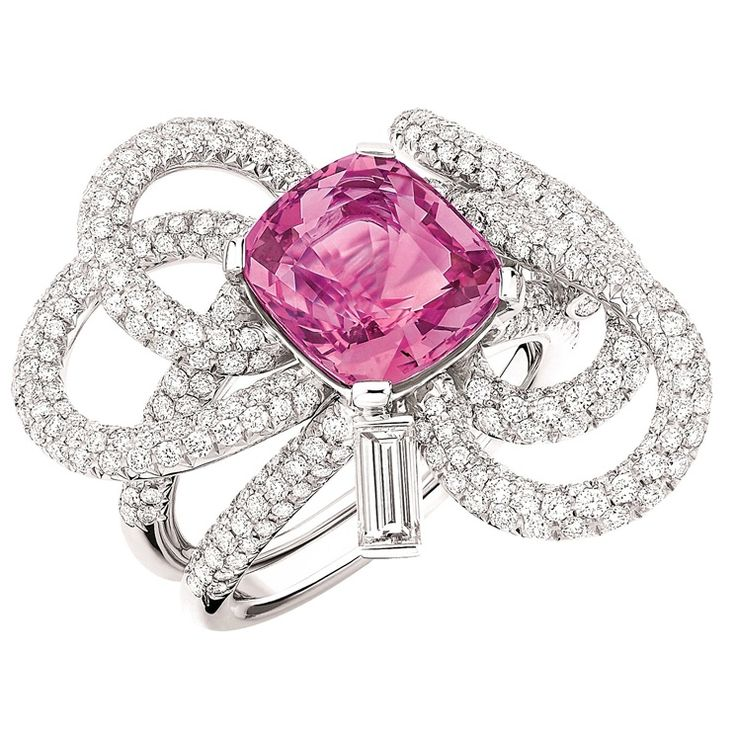 Chanel Joaillerie - White gold Ruban ring with diamonds and a pink sapphire. Photo courtesy press office.