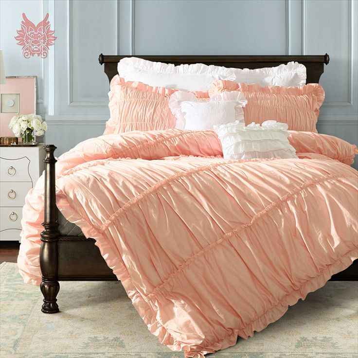 ==> [Free Shipping] Buy Best Princess palace purfle decor bedding set pink grey white solid 100% pure cotton duvet comforter cover set ropa de cama SP4129 Online with LOWEST Price | 32801698713