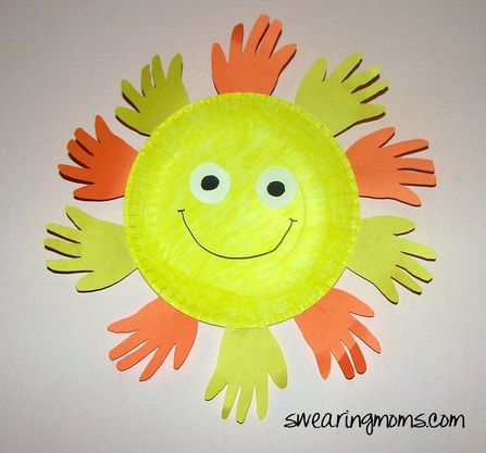 Display your toddler's hands by making an adorable sun!   Take a paper plate, color or paint it yellow. Take 10 or more cut outs of your little one's hands and glue them to the back of the plate... Cut out a few eyeballs and draw a smile and you are ready to hang in your child's room.