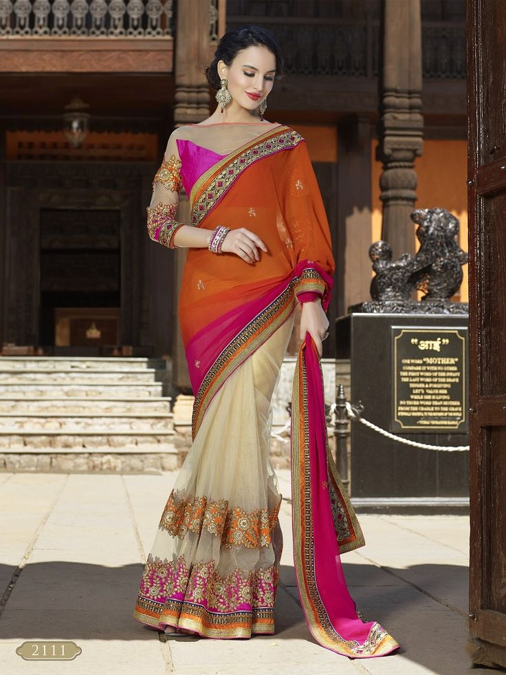 Off White Net Saree With Embroidery Work #bandbaajaa.com #bandbaajaa #weddingsarees #weddingsaris #bridalsarees #bridalsaris #designersarees #designersaris #sarees #saris #weddingwear #weddingshopping