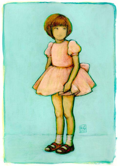 'Ik, 4 jaar / Me, 4 years old' Work in progress, Acryl on paper. Illustration by Hilda Groenesteyn / studioHille