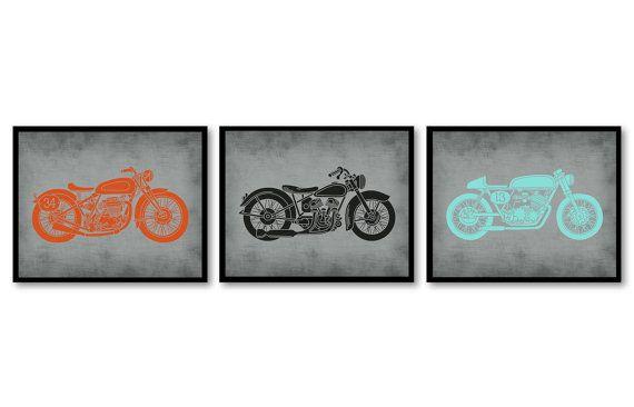 Motorcycle Nursery Art Nursery Transportation Set of 3 Prints Orange Turquoise Blue Grey Black Boys Art Nursery Print Baby Boy Wall Decor