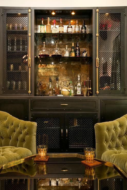Elegant home bar in a room with tufted sofas