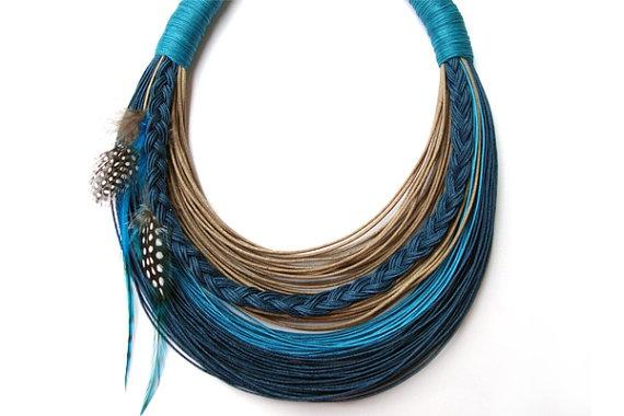 Statement fiber necklace