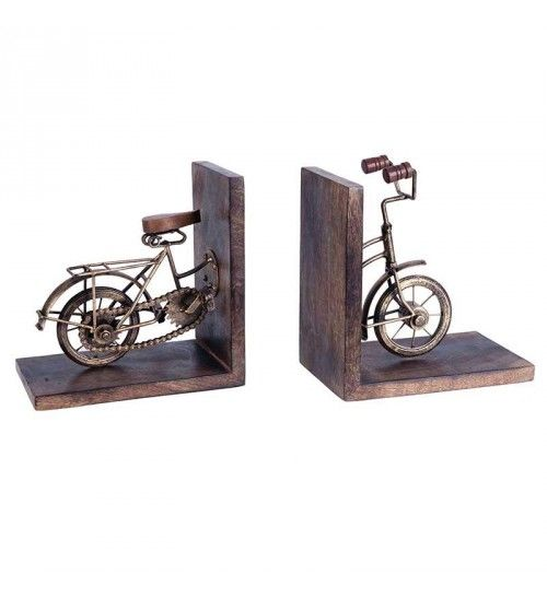 S_2 METAL_WOODEN BIKE BOOKEND IN BRASS COLOR  40(20)Χ12Χ21