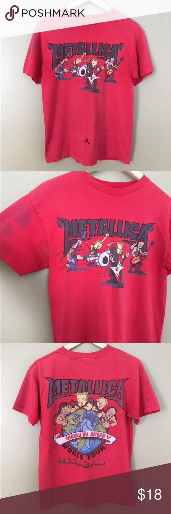 "Distressed Vintage Like Metallica Tour Shirt Distressed red Metallica Tour T-Shirt. From 2004. Great for collectors. Super grunge. Super soft. Size Medium. Laid flat: 25"" shoulders: 18"" chest: 19"" Tops Tees - Short Sleeve"