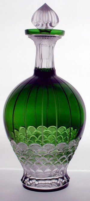 Crystal lamps, candlesticks, votives for wholesale at discount prices. German, Italian, UK, French US crystal wholesalers welcome. - Saarburg Wine Decanter Emerald