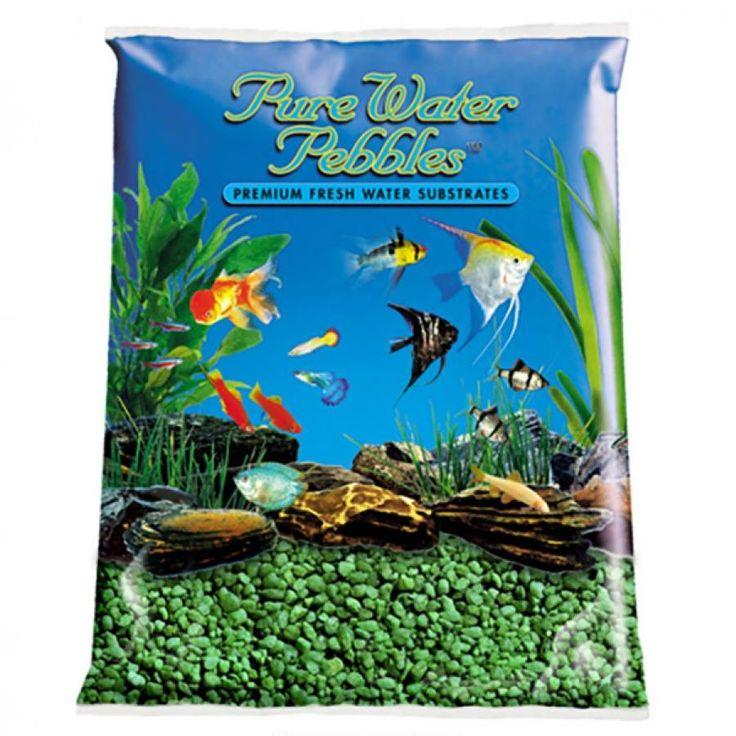 2lb Pure Water Pebbles Aquarium Gravel Emerald Green is a natural freshwater aquarium gravel substrate. Fish-safe 100% acrylic coating. Non-toxic and colorfast, will not alter aquarium chemistry. Ideal for aquariums, ponds, terrariums, crafts, lan