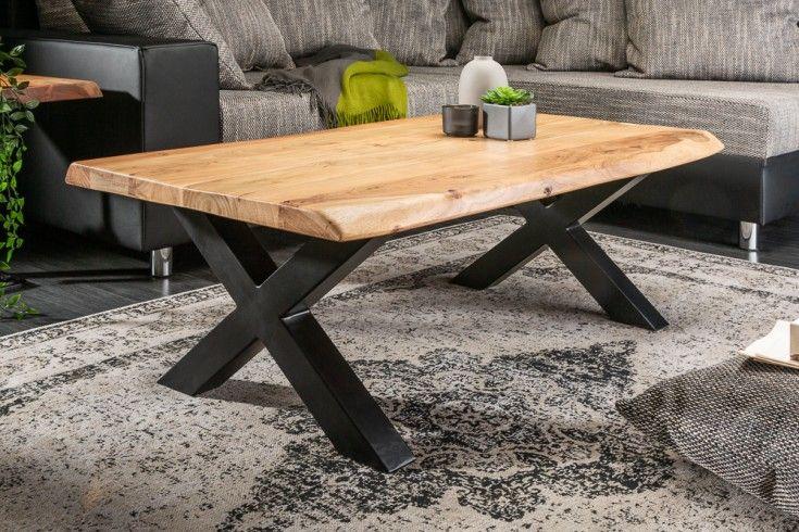 Massiver Baumstamm Couchtisch Mammut 110cm Akazie Schwarzes X Gestell Riess Ambiente De Solid Wood Coffee Table Modern Table Design Coffee Table Wood