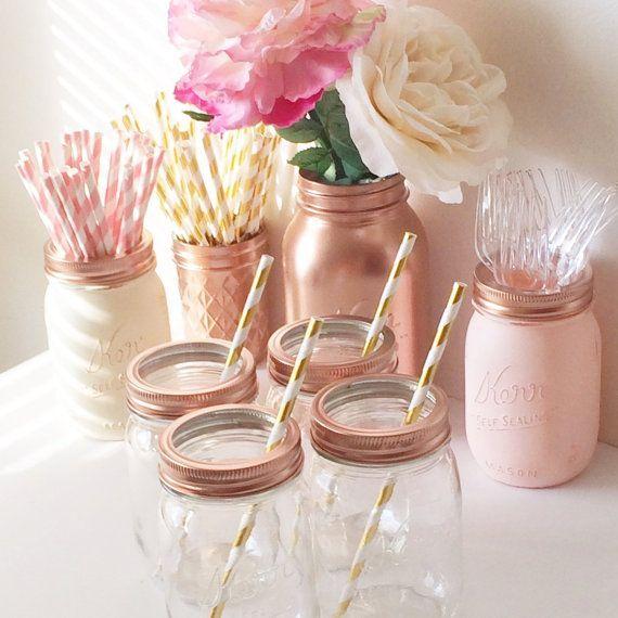 Mason Jars Holiday Decor New Years Eve Glasses Tumblers Party Decor Mason Jar Lids Copper Gold Rose Gold Pink