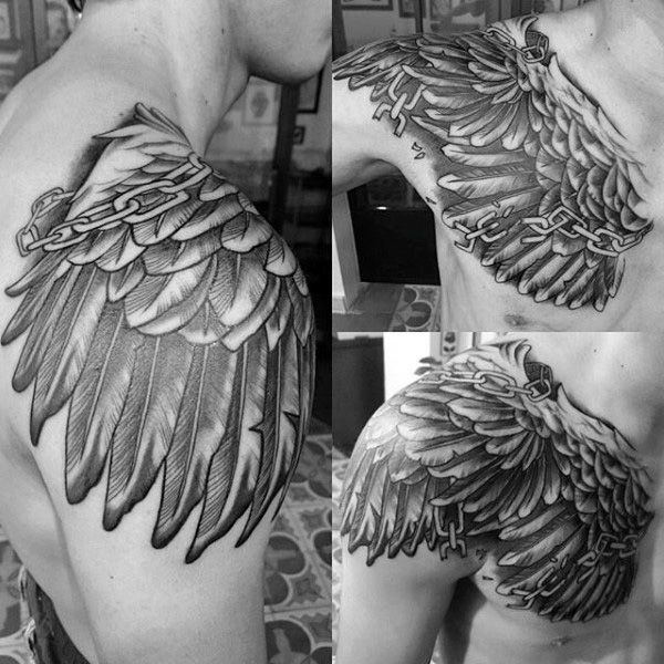 5822 best images about hand sleeve shoulder tattoo for Mens wing tattoo