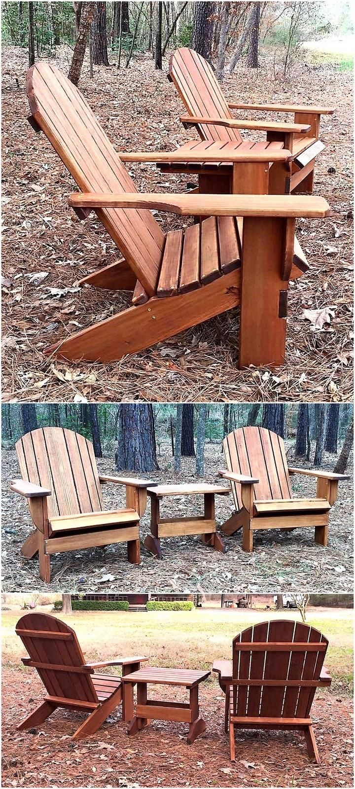 For the lawn or garden of the home, here is an idea of creating the recycled wood pallet Adirondack chairs with the table matching with them. The set is looking great and it is good to fulfill the requirement of outdoor setting by reshaping the wood pallets instead of running to the shop to buy the furniture.