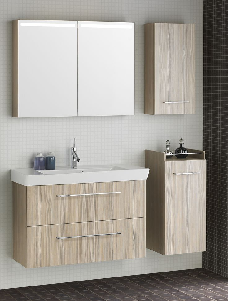 Create extra storage with Mirror cabinets, wall cabinets and mid-height base cabinets.