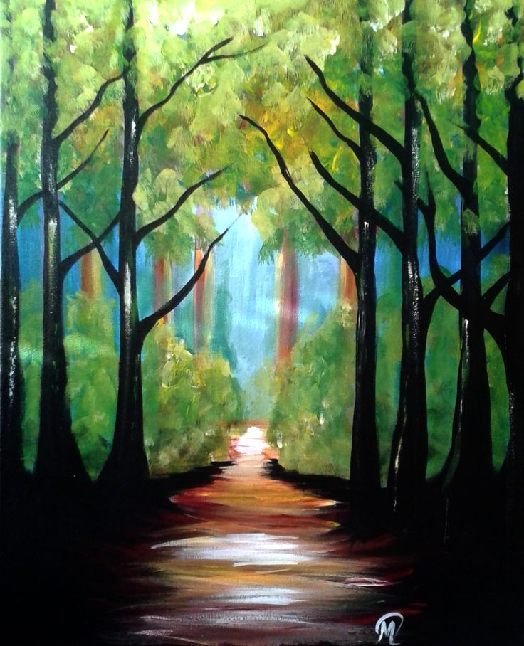 Leaving the Forest Out of the darkness and into the light of nature. Acrylic on Canvas 16 by 20 in. DIY painting with the assistance of a talent Paint Coach from DABS TO STROKES, a paint party business #paint party #dabstostrokes #art class