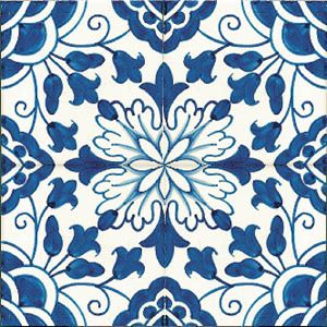 "Tamega-Shop - Patterned tiles 14x14 - - Tile, design ""Goa"", hand-painted, 14x14 cm"