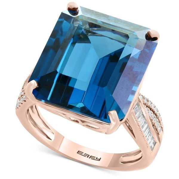 Ocean Bleu by Effy London Blue Topaz (14-9/10 ct. t.w.) & Diamond (1/4... (€1.415) ❤ liked on Polyvore featuring jewelry, rings, london blue topaz, diamond rings, pink gold rings, 14k diamond ring, diamond jewelry and diamond jewellery