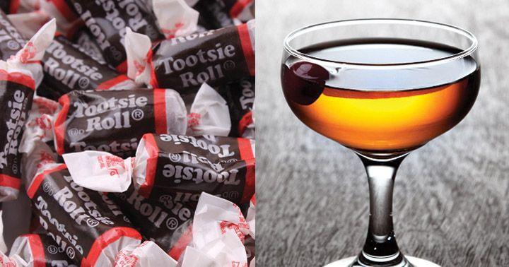 The Cocktail That Tastes Like a Tootsie Roll 2 oz Bulleit Rye Whiskey 1 oz Lustau Pedro Ximenez Sherry 6 dashes Scrappy's Chocolate Bitters   Garnish:  1 Luxardo Maraschino Cherry Glass: Cocktail