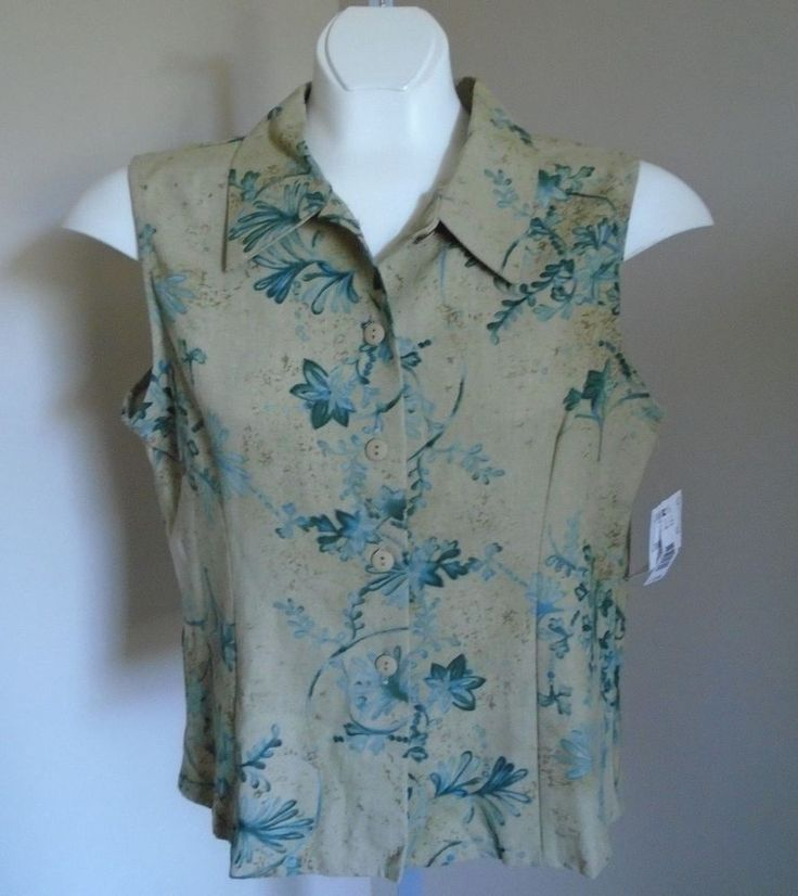 Bentley Size Large Taupe with Teal Blue and Green Flowers Sleeveless Blouse NWT #Bentley #Blouse #Career