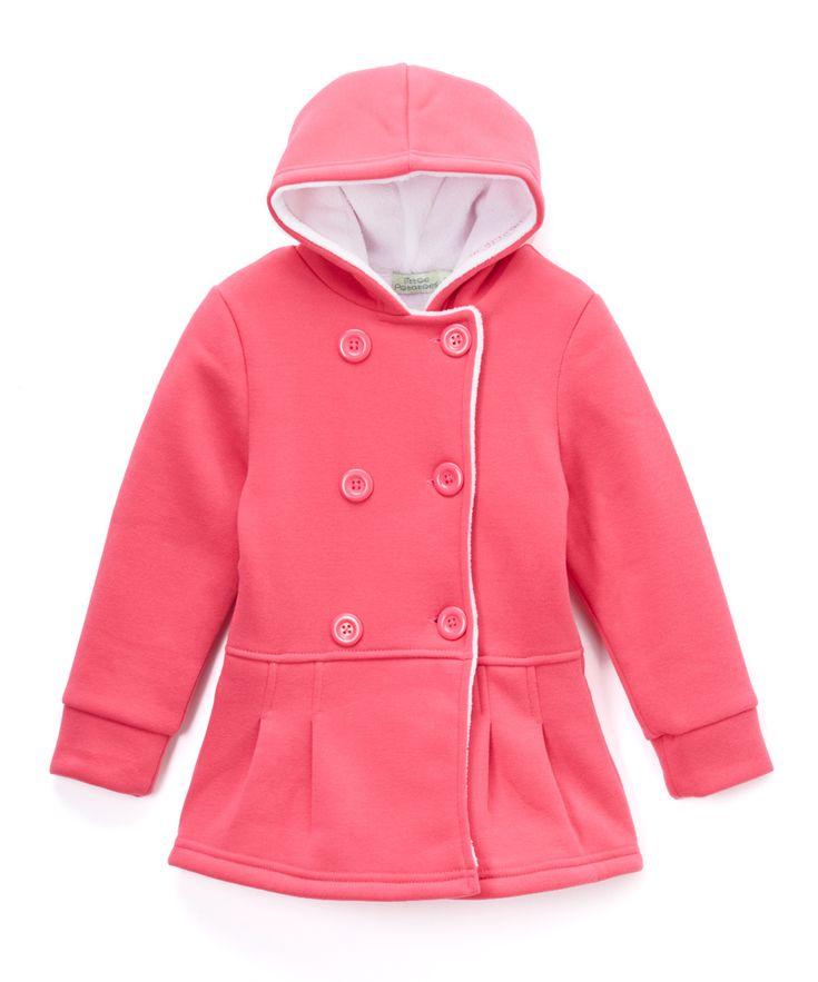 Fuchsia Faux Fur-Lined Peacoat - Toddler & Girls