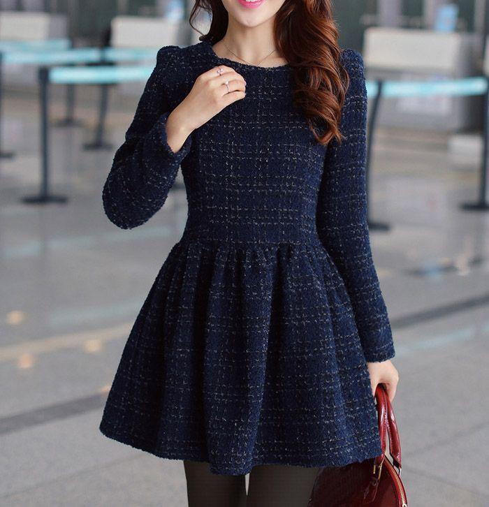 Autumn Winter Womens Sweet Bubble Long Sleeve Blue Woolen