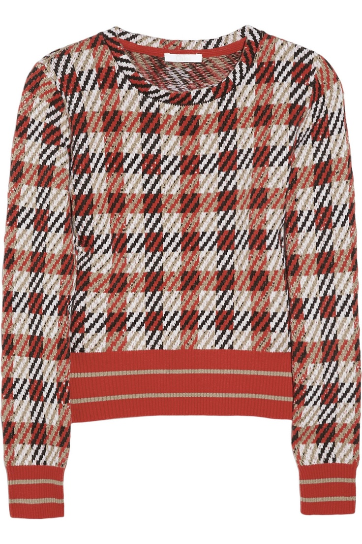 Chloé|Checked merino wool and cashmere-blend sweater|NET-A-PORTER.COM