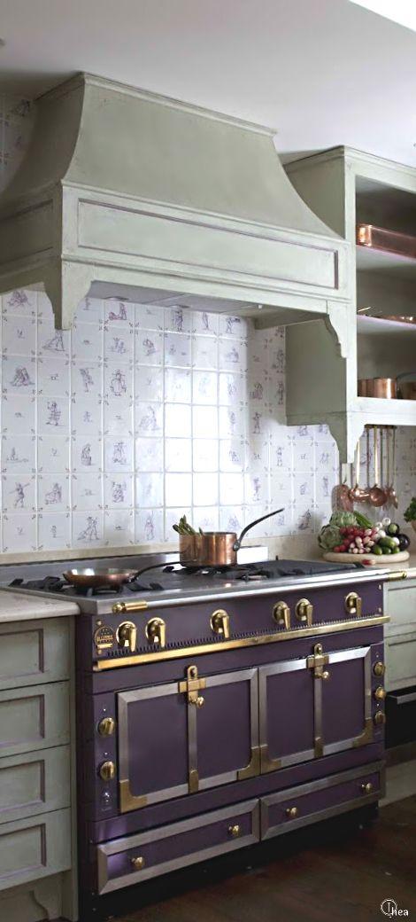 French Style La Cornue Kitchen Eggplant With Brass La