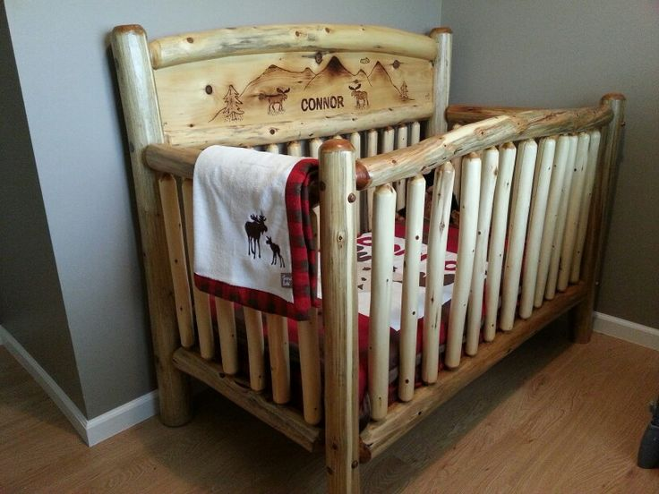 rustic crib furniture. my talented husband made this rustic log crib for our friends furniture