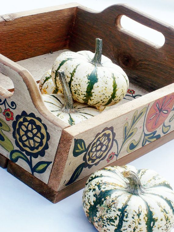 Cedar Table Top Tray Hand Painted Autumn by ThePaintedPine on Etsy, $55.00