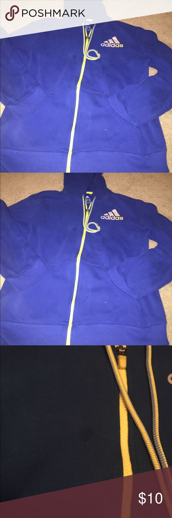 Adidas zip up hoodie, L Women's zip up hoodie with (my fave, thumb holes!). Royal blue with yellow accents.  Small spot (haven't tried to get it out) on the front, shown in photo.  Size L. Adidas Tops Sweatshirts & Hoodies