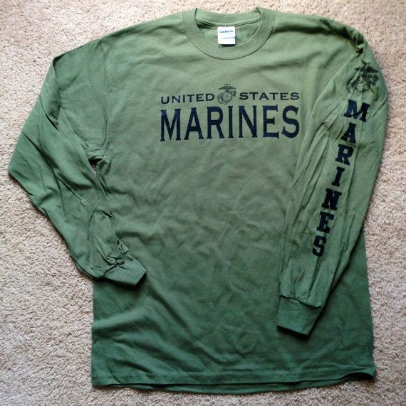 "Marine Corps PT Long Sleeve T-Shirt ""Marines"" EGA USMC Tee Women, Men and Kids Outfit Ideas on our website at 7ootd.com #ootd #7ootd"