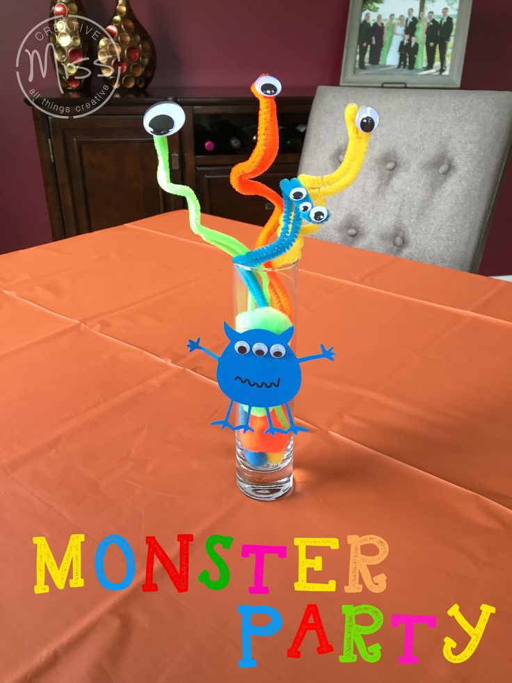 Monster Theme Birthday Party Centerpieces