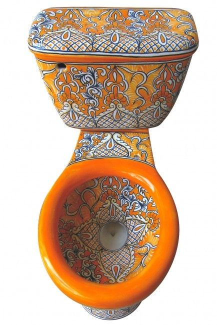 """Mexican Talavera Toilet Set Bathroom Handcrafted """"Acapulco Oro"""""""